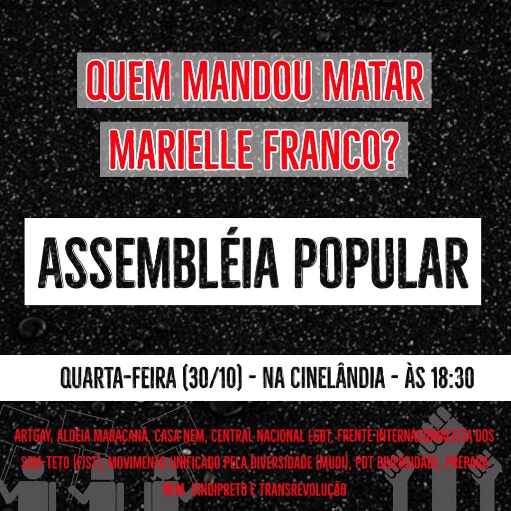 Ativistas LGBTI+ fazem plenária nesta quarta por Marielle e contra reformas de Bolsonaro